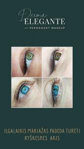 Akių ilgalaikis makiažas akių šešėliavimas klasikinė strėlytė permanentinis makiažas